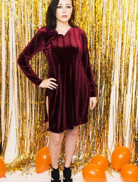 Crushed Velvet Red Dress