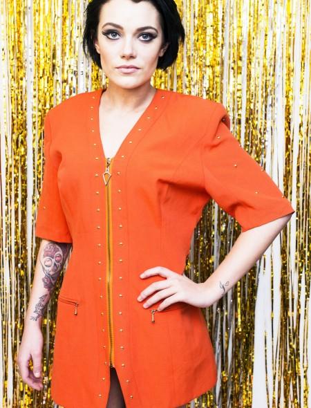 Bright Orange Studded Dress
