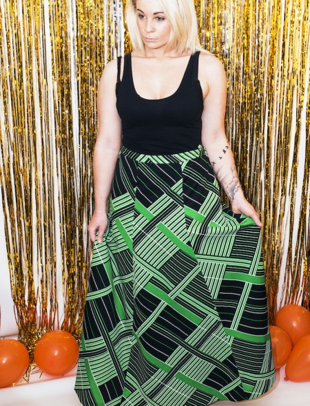 Full Length Green & Black Geometric Shape Skirt