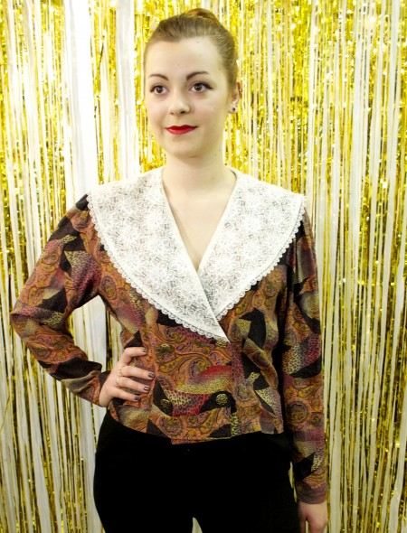 'Elinette' Paisley & Animal Print Top with Lace Lapel Collar