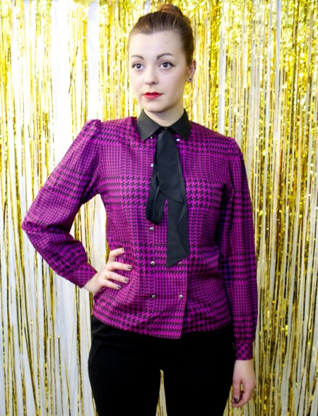 Windsmoor Houndstooth Shirt with Pussybow