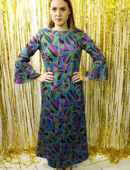 Psychedelic Purple Full Length Dress