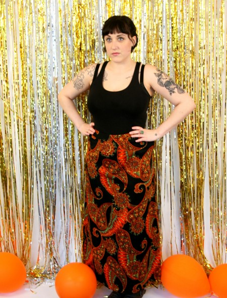 Black Skirt with Orange Psychedelic Pattern