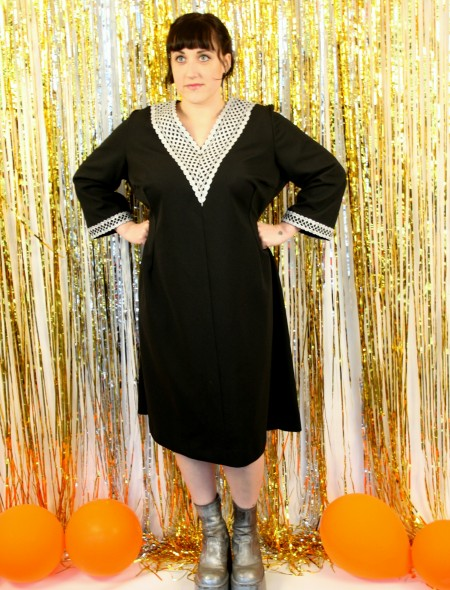 Black Plus Size Dress with Silver Detailing