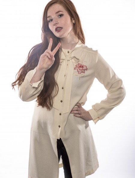 Cream Pussy bow Shirt Dress