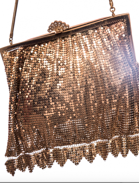 Formal Gold Detailed Mesh Handbag