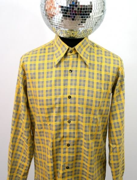 Yellow Checked Designer Shirt