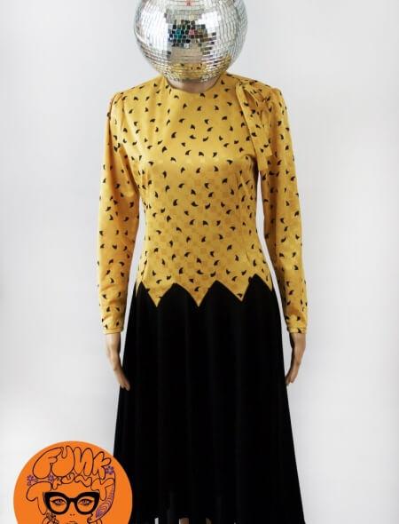 Yellow & Black Evening Dress